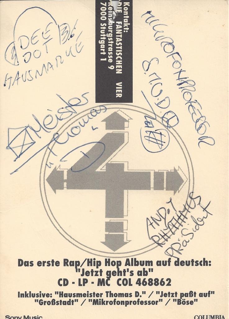 1992 Fanta 4 Autogramm vorne-1